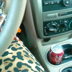 Shitty interior picture.  Yes, I wear crazy clothes for that leopard print thing is my leg. XD coke drank. :)