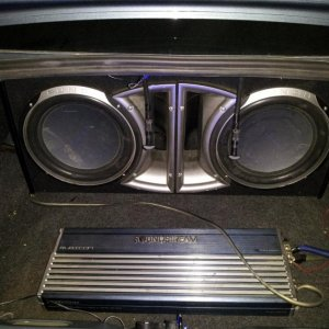 "Gonna throw two 12"" ts-w3002d4 3,500 watt pioneer subs in soon!!"